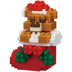 Teddybär im Weihnachtsstrumpf NBC-235 NANOBLOCK der japanische mini...