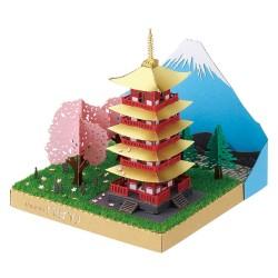 5-stöckige Pagode & Fuji mit Kirschblüte PN-144 Paper Nano
