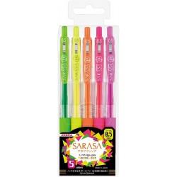 Sarasa Clip Neon set de 5 stylos (rechargeables) JJ15-5C-NO par Zebra